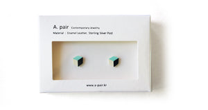 Enamel Leather Earrings, mint, ivory, black