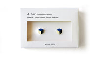 Load image into Gallery viewer, Enamel Leather Earrings, deep blue, ivory, black