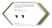 Load image into Gallery viewer, Enamel Leather Earrings _  3,4 colors _  violet, ivory, black - A.pair Earrings_contemporary jewelry