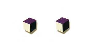 Enamel Leather Earrings _  3,4 colors _  violet, ivory, black - A.pair Earrings_contemporary jewelry