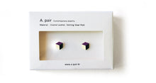 Load image into Gallery viewer, Enamel Leather Earrings, violet, ivory, black