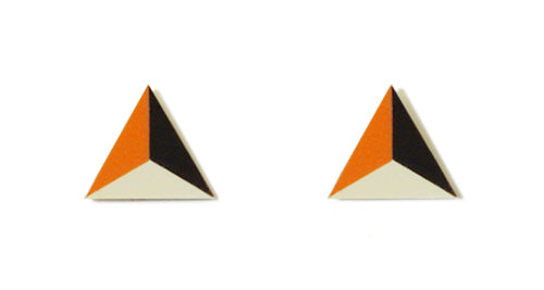 Enamel Leather Earrings _  3,4 colors _  orange, ivory, brown - A.pair Earrings_contemporary jewelry