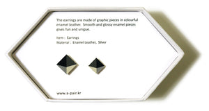 Enamel Leather Earrings _  3,4 colors _  black, gray, ivory, silver - A.pair Earrings_contemporary jewelry