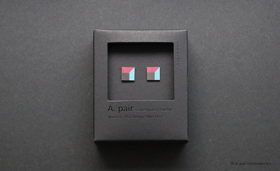 3D Earrings_ pink, blue, black - A.pair Earrings_contemporary jewelry