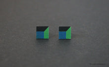 Load image into Gallery viewer, 3D Earrings_ blue, green, black - A.pair Earrings_contemporary jewelry