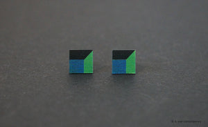 3D Earrings_ blue, green, black - A.pair Earrings_contemporary jewelry