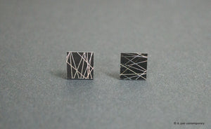 3D Earrings_ white line, black - A.pair Earrings_contemporary jewelry