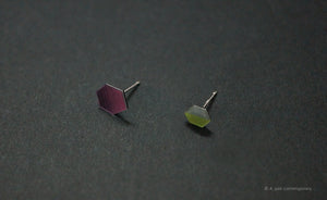 3D Earrings_ green, ivory, yellow, violet, pink, black - A.pair Earrings_contemporary jewelry