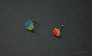 3D Earrings_ teal, yellow, orange - A.pair Earrings_contemporary jewelry