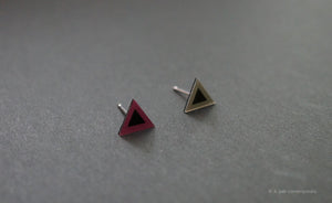 3D Earrings_ triangle / triangle _ pink / gray - A.pair Earrings_contemporary jewelry