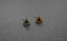 Load image into Gallery viewer, 3D Earrings_ triangle / triangle _  gray / yellow - A.pair Earrings_contemporary jewelry