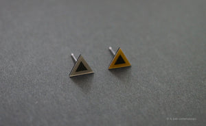 3D Earrings_ triangle / triangle _  gray / yellow - A.pair Earrings_contemporary jewelry