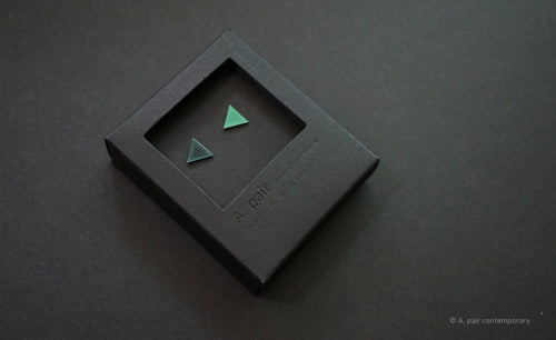 3D Earrings_ triangle / triangle _  blue / emerald - A.pair Earrings_contemporary jewelry
