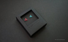 Load image into Gallery viewer, 3D Earrings_ triangle / triangle _  pink / blue - A.pair Earrings_contemporary jewelry