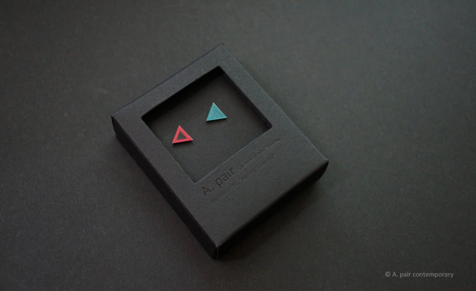 3D Earrings_ triangle / triangle _  pink / blue - A.pair Earrings_contemporary jewelry