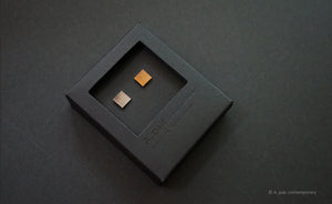 3D Earrings_ square / square _  gray / yellow - A.pair Earrings_contemporary jewelry