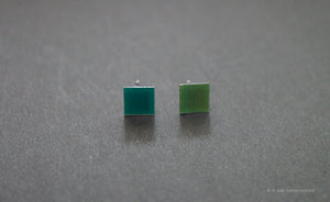 3D Earrings_ square / square  _  blue / emerald - A.pair Earrings_contemporary jewelry