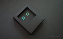 Load image into Gallery viewer, 3D Earrings_ square / square  _  blue / emerald - A.pair Earrings_contemporary jewelry