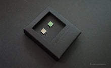 Load image into Gallery viewer, 3D Earrings_ square / square  _  gray / emerald - A.pair Earrings_contemporary jewelry