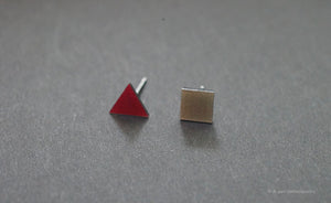 3D Earrings_ triangle / square _  pink / gray - A.pair Earrings_contemporary jewelry