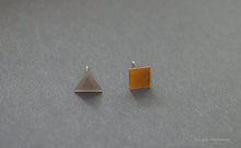 Load image into Gallery viewer, 3D Earrings_ triangle / square _  gray / yellow - A.pair Earrings_contemporary jewelry