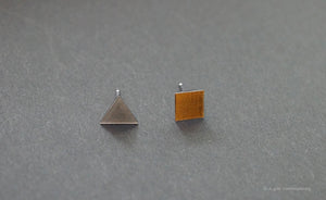 3D Earrings_ triangle / square _  gray / yellow - A.pair Earrings_contemporary jewelry