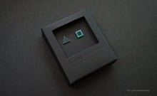 Load image into Gallery viewer, 3D Earrings_ triangle / square _  blue / emerald - A.pair Earrings_contemporary jewelry