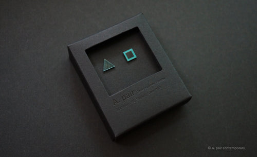3D Earrings_ triangle / square _  blue / emerald - A.pair Earrings_contemporary jewelry