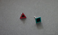 Load image into Gallery viewer, 3D Earrings_ triangle / square _  pink / blue - A.pair Earrings_contemporary jewelry