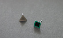 Load image into Gallery viewer, 3D Earrings_ triangle / square _  gray / emerald - A.pair Earrings_contemporary jewelry