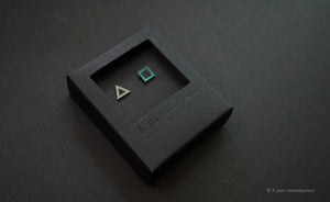 3D Earrings_ triangle / square _  gray / emerald - A.pair Earrings_contemporary jewelry