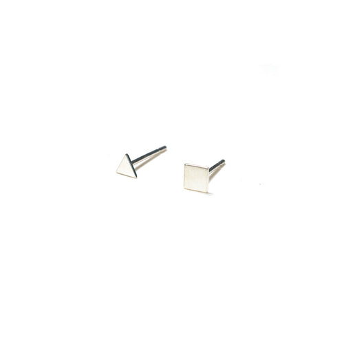 Sterling Silver Earrings | Triangle Square Shape Earrings | Mismatched Studs *Amazon - A.pair Earrings_contemporary jewelry