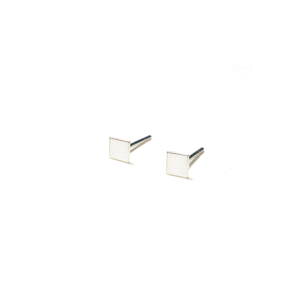 Sterling Silver Earrings | Square Shape Earrings | Tiny Silver Studs - A.pair Earrings_contemporary jewelry
