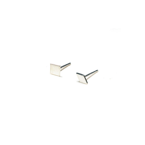 Sterling Silver Earrings | Square Diamond Shape Earrings | Mismatched Studs *Amazon - A.pair Earrings_contemporary jewelry