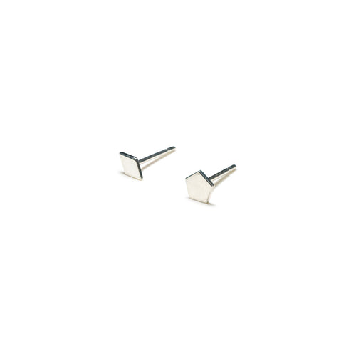 Sterling Silver Earrings | Diamond Pentagon Shape Earrings | Mismatched Studs *Amazon - A.pair Earrings_contemporary jewelry