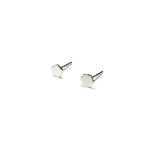 Sterling Silver Earrings | Pentagon Hexagon Shape Earrings | Mismatched Studs *Amazon - A.pair Earrings_contemporary jewelry
