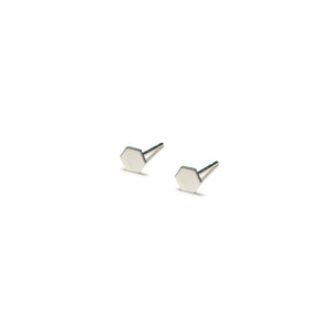 Sterling Silver Earrings | Hexagon Shape Earrings | Tiny Silver Studs *Amazon - A.pair Earrings_contemporary jewelry