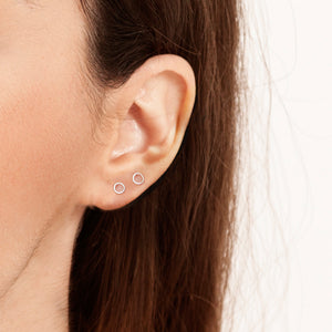 Sterling Silver Earrings | Circle Line Studs *Amazon - A.pair Earrings_contemporary jewelry