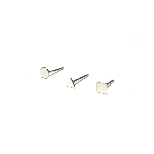 Sterling Silver Earrings | Circle Triangle Square Earrings | Mismatched Studs *Amazon - A.pair Earrings_contemporary jewelry