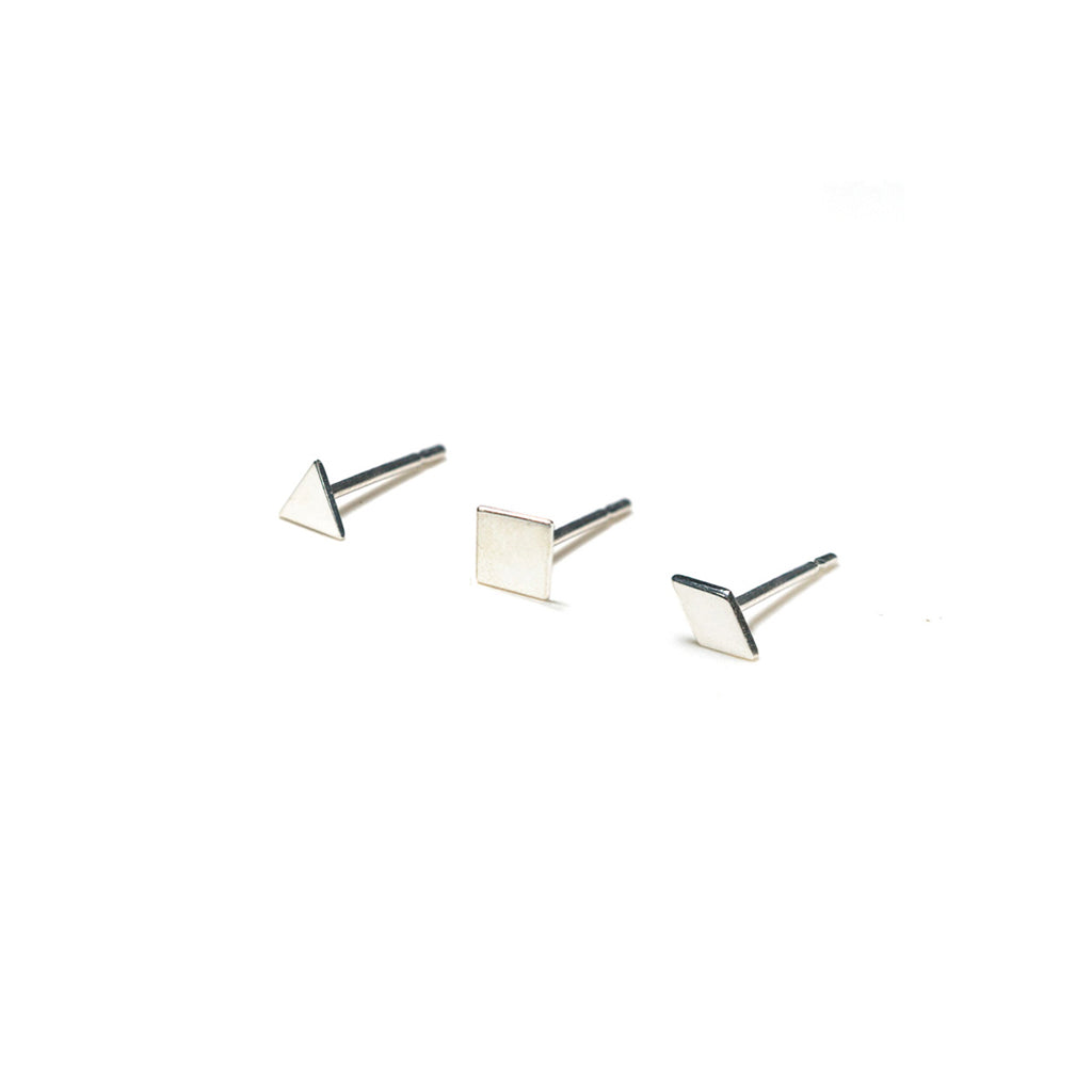 Sterling Silver Earrings | Triangle Square Diamond Shape Earrings | Mismatched Studs *Amazon - A.pair Earrings_contemporary jewelry