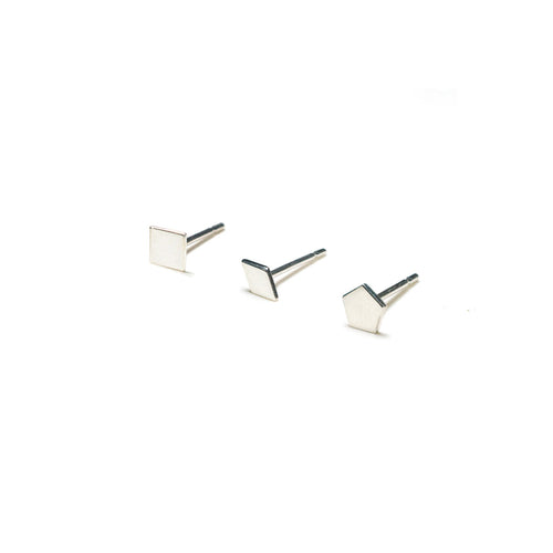 Sterling Silver Earrings | Square Diamond Pentagon Shape Earrings | Mismatched Studs *Amazon - A.pair Earrings_contemporary jewelry