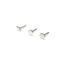 Load image into Gallery viewer, Sterling Silver Earrings | Diamond Pentagon Hexagon Shape Earrings | Mismatched Studs *Amazon - A.pair Earrings_contemporary jewelry