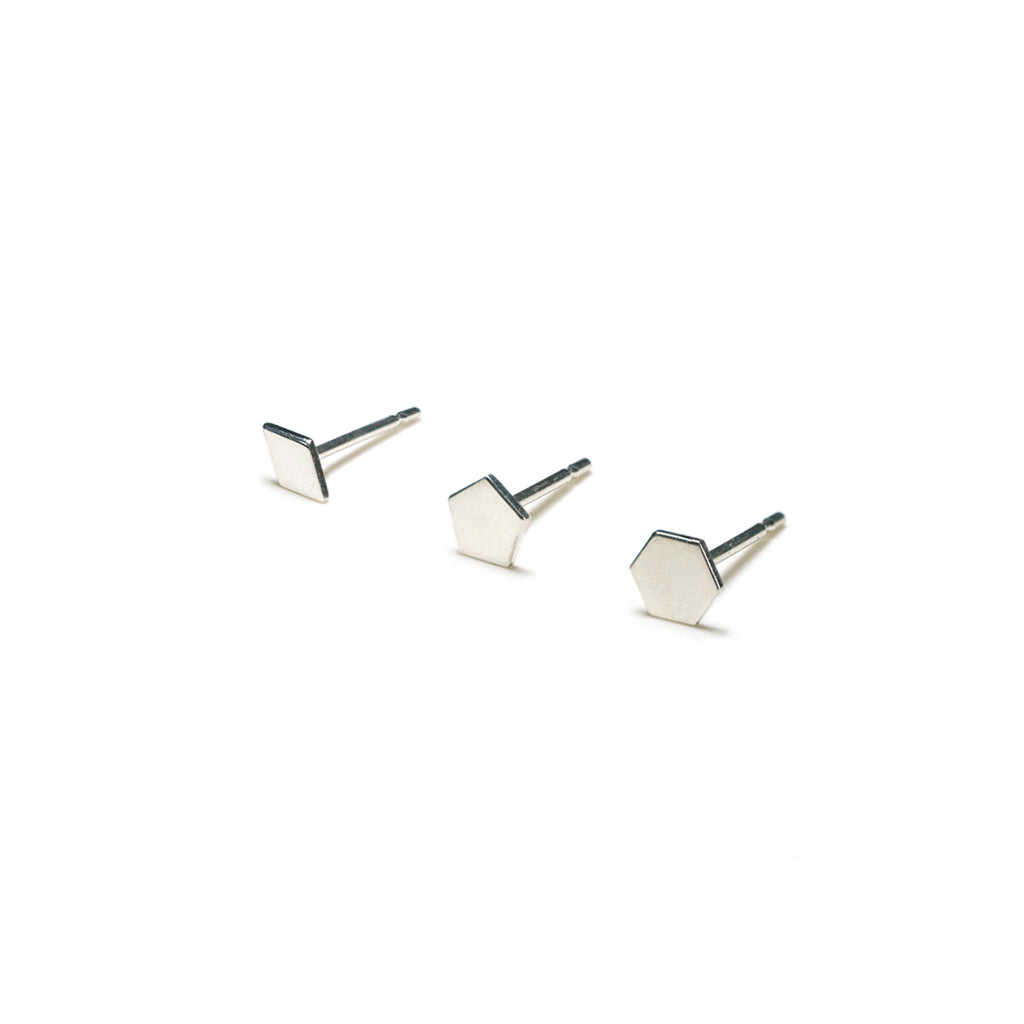 Sterling Silver Earrings | Diamond Pentagon Hexagon Shape Earrings | Mismatched Studs *Amazon - A.pair Earrings_contemporary jewelry