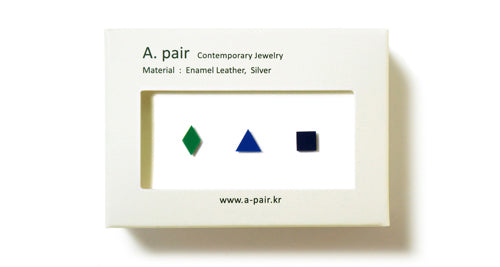 Enamel Leather Earrings _  set of 3 _  diamond / triangle / square - A.pair Earrings_contemporary jewelry