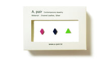 Load image into Gallery viewer, Enamel Leather Earrings _  set of 3 _  diamond / diamond / triangle - A.pair Earrings_contemporary jewelry