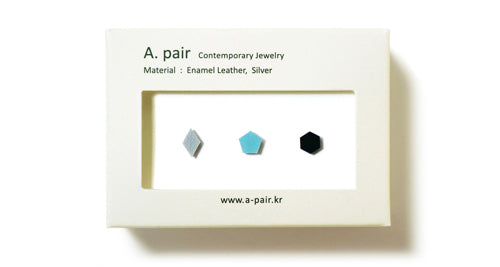 Enamel Leather Earrings _  set of 3 _  diamond / pentagon / hexagon - A.pair Earrings_contemporary jewelry