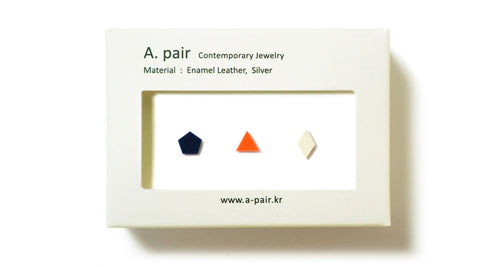 Enamel Leather Earrings _  set of 3 _  pentagon / triangle / diamond - A.pair Earrings_contemporary jewelry