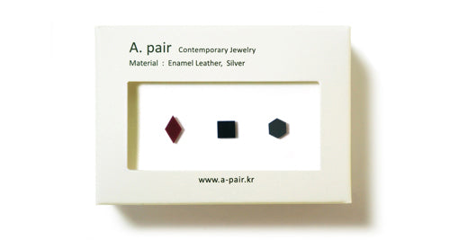 Enamel Leather Earrings _  set of 3 _  diamond / square / hexagon - A.pair Earrings_contemporary jewelry