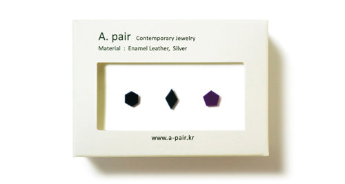 Enamel Leather Earrings _  set of 3 _  hexagon / diamond / pentagon - A.pair Earrings_contemporary jewelry