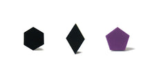Load image into Gallery viewer, Enamel Leather Earrings _  set of 3 _  hexagon / diamond / pentagon - A.pair Earrings_contemporary jewelry